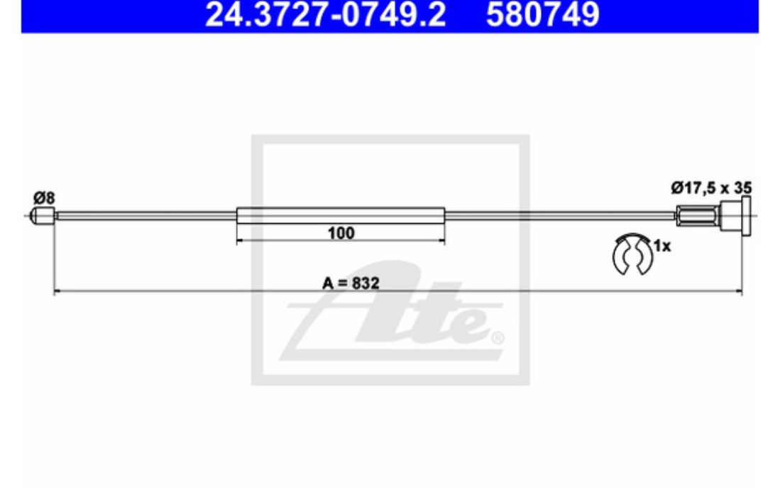 Firstline FKB2321 Handbrake Cable Right Parking Brake  522449 90576454 Genuine