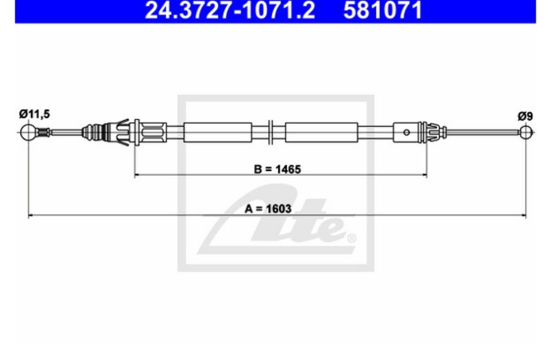 ATE Handbrake Cables For RENAULT TRAFIC VAUXHALL VIVARO 24.3727-1071.2
