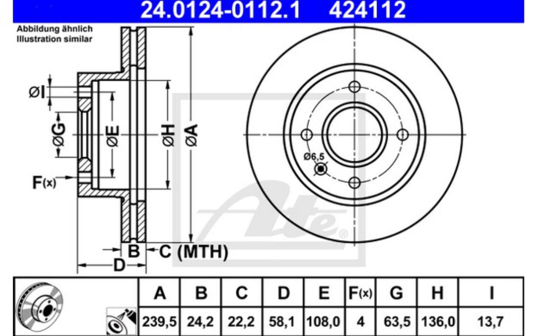 4 pastillas de freno delantero fordeje delantero 239,5 mm ventilado 2 discos de freno