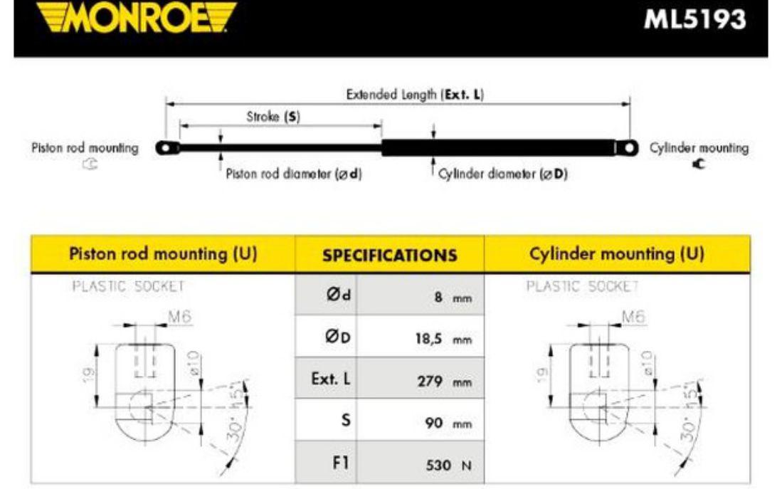 BOLK Muelle neumático maletero//compartimento de carga trasero BOL-E021024