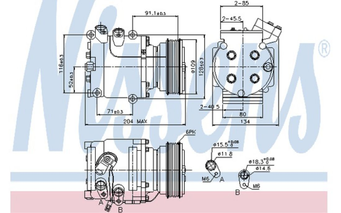 NISSENS Compresor, aire acondicionado HONDA CIVIC ACCORD PRELUDE 89233