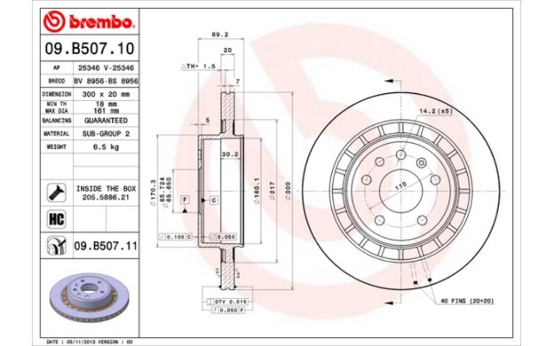 1x BREMBO Bremsscheibe hinten Belüftet 300mm Für SAAB 9-5 09.B507.11